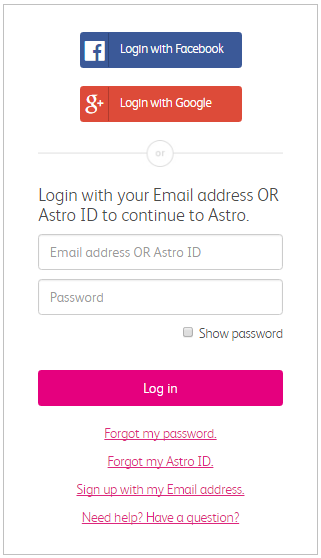 Manage My Account | Help & Support | Astro