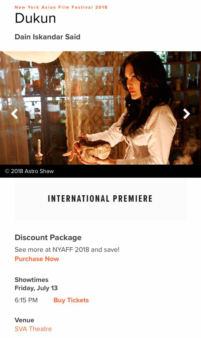 Dukun mendapat perhatian festival filem antarabangsa.