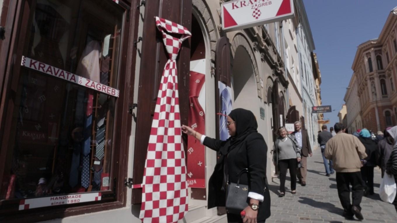 Antara kedai tali leher yang ada di bandar Zagreb.