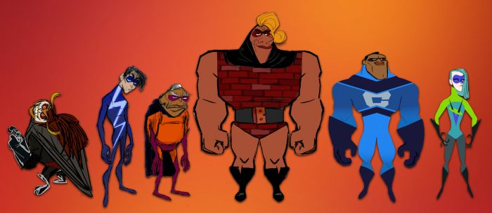 The concept art for the new superheroes.