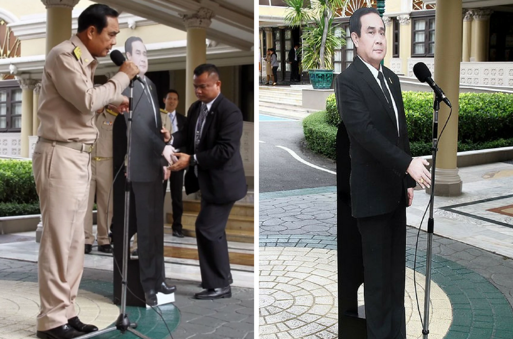Thailand's PM Replaced Himself With A Cutout Cardboard During A Media Session And It's Hilarious